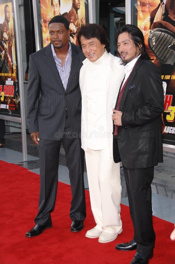 Chris Tucker, Jackie Chan, précipitation photo libre de droits