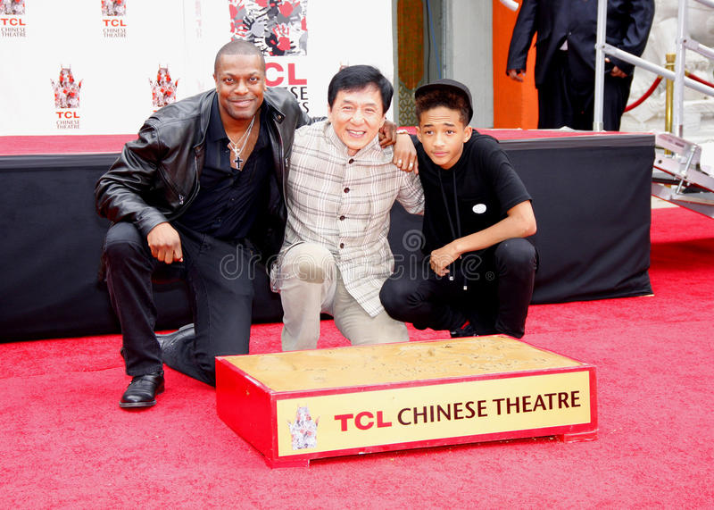 Chris Tucker, Jackie Chan und Jaden Smith stockfotos