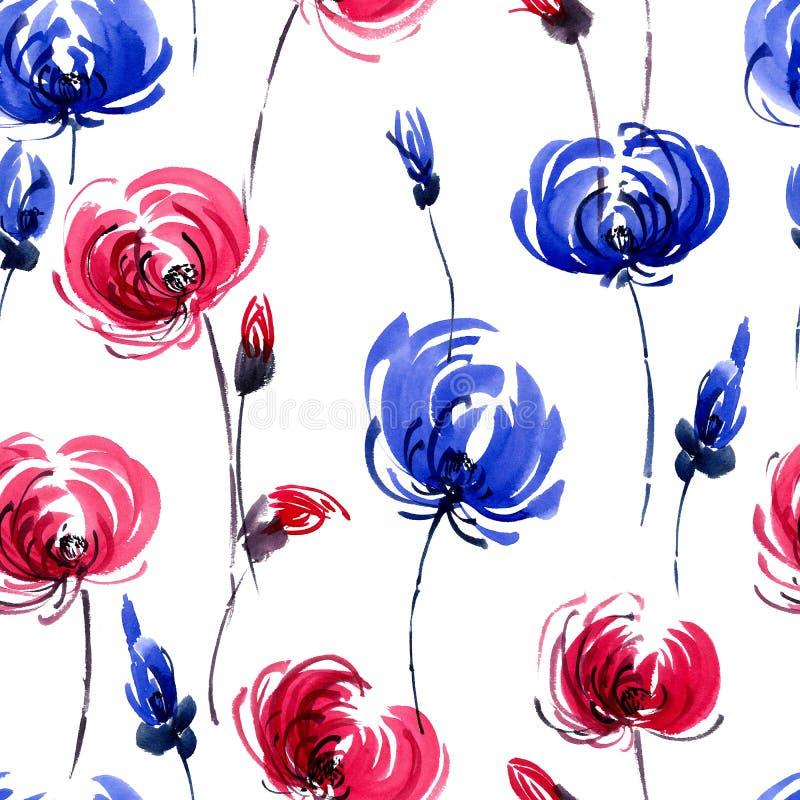 Chrisanthemium kwiatów wzór ilustracja wektor
