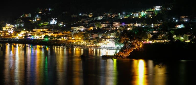 Chrisi Ammoudia at Night Golden Beach Thassos Skala Panagia Greece stock images