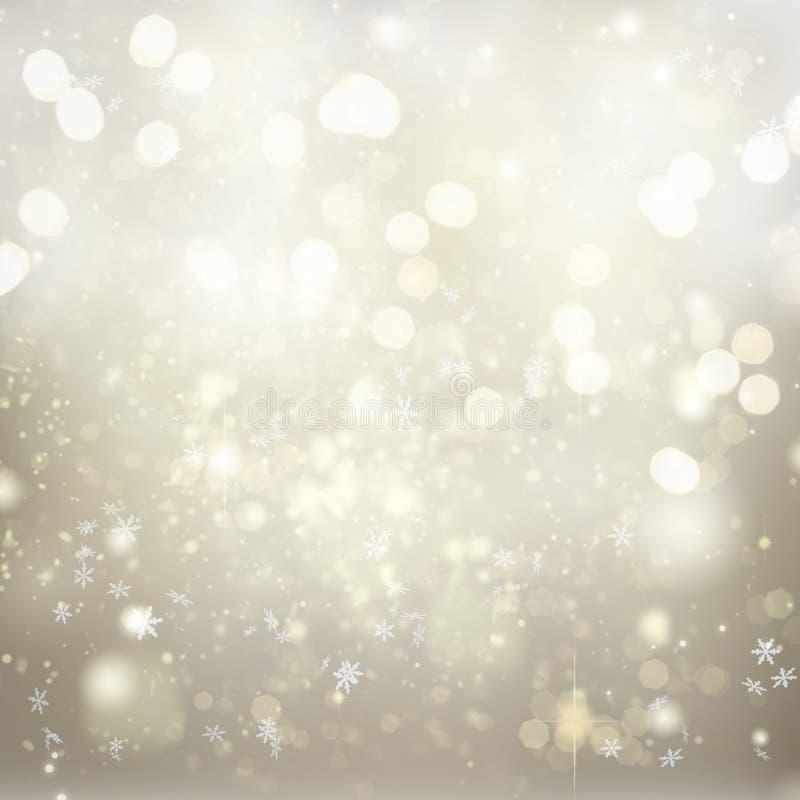 Chrismas background with sparkles. Chrismas silver abstract background with bright sparkles and falling snowflakes vector illustration