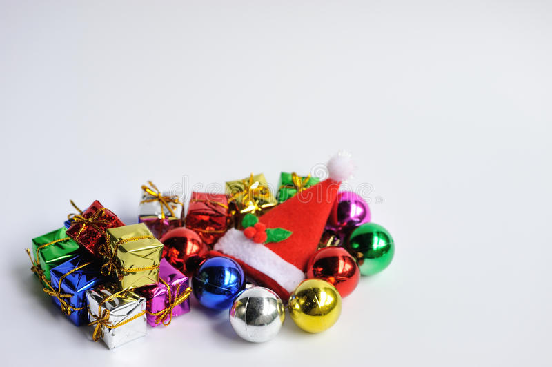 Chrismas decoration. Ball box hat royalty free stock images