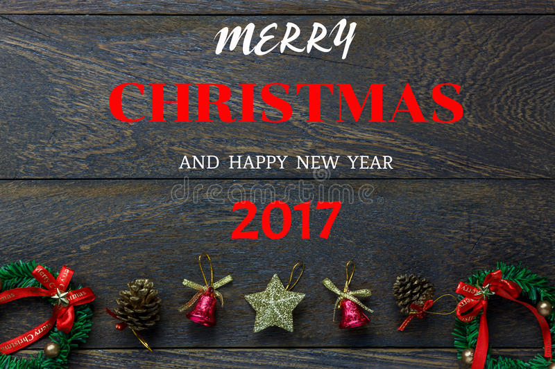 Chrismas decoration and ornament on wooden background w royalty free stock photos
