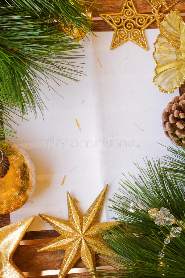 Chrismas decorations and paper page stock images