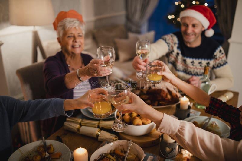 Chrismas Dinner Toast royalty free stock photos