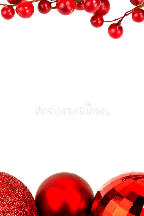 Download Chrismas Frame Of Baubles And Red Berries Stock Image - Image: 22069107