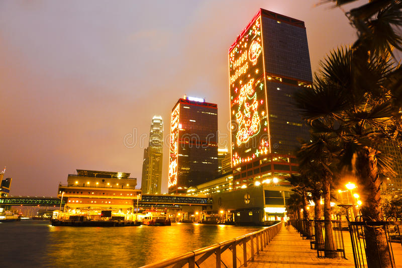 Chrismas lighting of harbour. Chrismas lighting of shun tai Centre and Hong Kong Macau Ferry Teminal, 2011 royalty free stock image
