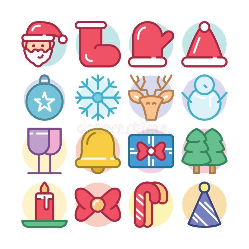 Chrismaspictogram met de Kerstman wordt geplaatst die stock illustratie