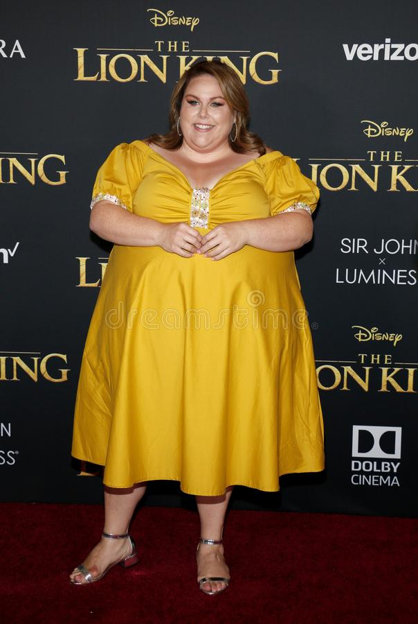 Chrissy Metz. At the World premiere of `The Lion King` held at the Dolby Theatre in Hollywood, USA on July 9, 2019 stock image
