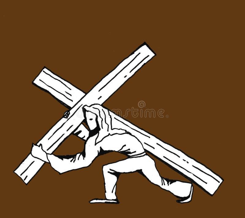 christ нося перекрестный jesus иллюстрация вектора