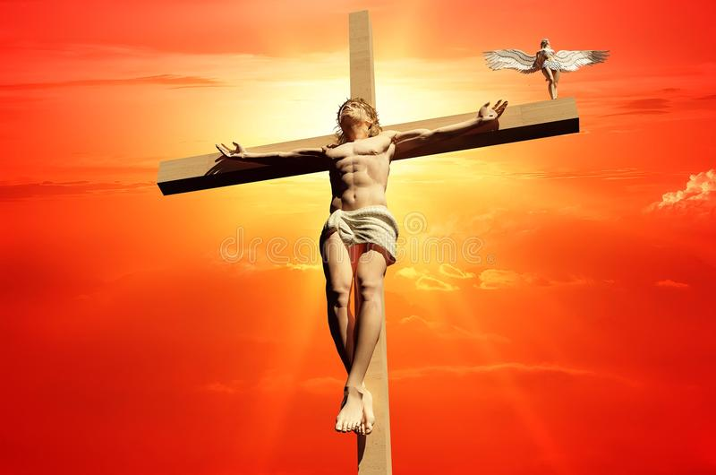 The Christ. On a background of the sky stock illustration