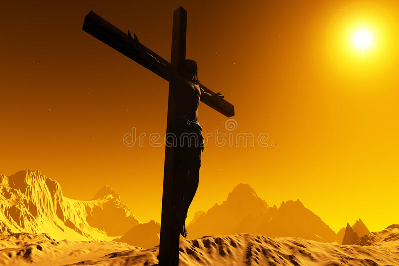 The Christ. On a background of the sky vector illustration