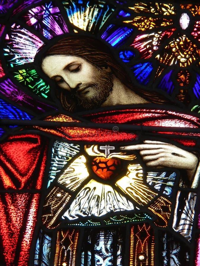 Christ, Buntglasbild stockbild