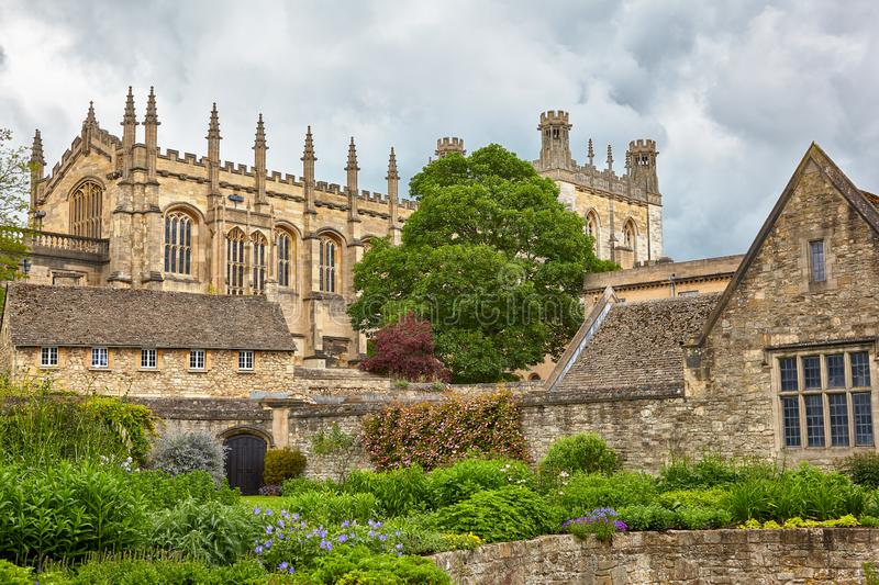 The Christ Church as seen from the Memorial Gardens. Oxford University. England. The view of Christ Church buildings: Great Dining Hall and Bodley Tower from the royalty free stock photos