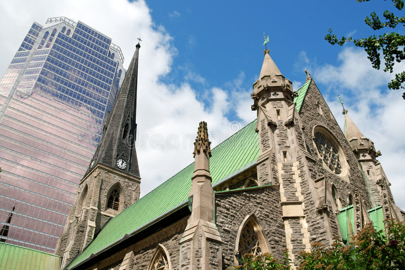 Christ Church Cathedral. This was formerly the first Anglican Cathedral of Montreal. The original Christ Church Cathedral was destroyed by fire in 1856. The stock image