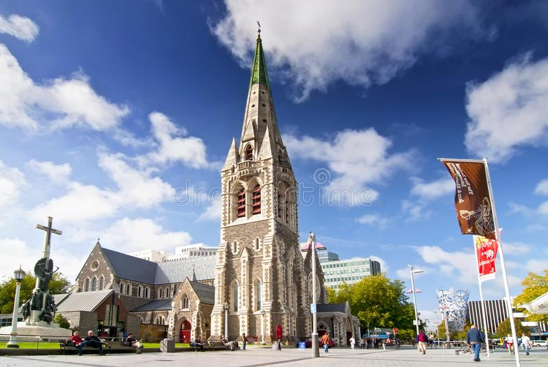 Christ Church Cathedral, a deconsecrated Anglican cathedral in the city of Christchurch, South Island, New Zealand. Christ Church Cathedral, a deconsecrated royalty free stock image