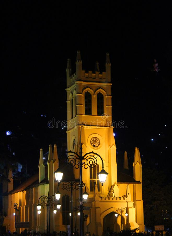 Christ church in shimla in india. Image of Christ church in shimla india at night royalty free stock image