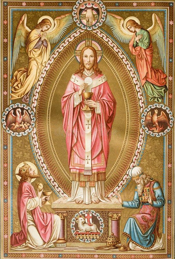 Christ dal vecchio libro di liturgy fotografie stock