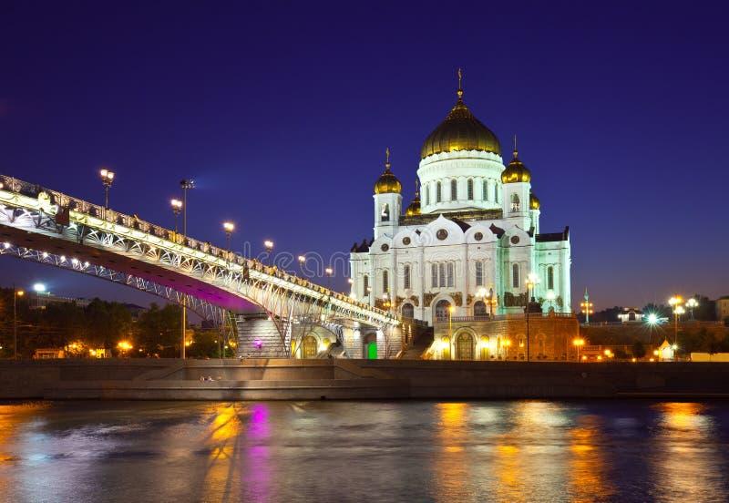 Christ die Retter-Kathedrale in der Nacht stockfotos