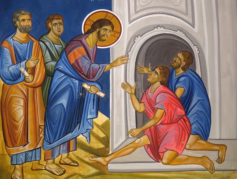 Christ healing the paralytic, fresco in the Church of Saint Paraskeva of the Balkans near Saint Naum Monastery, Ohrid in Macedonia.  royalty free stock photo