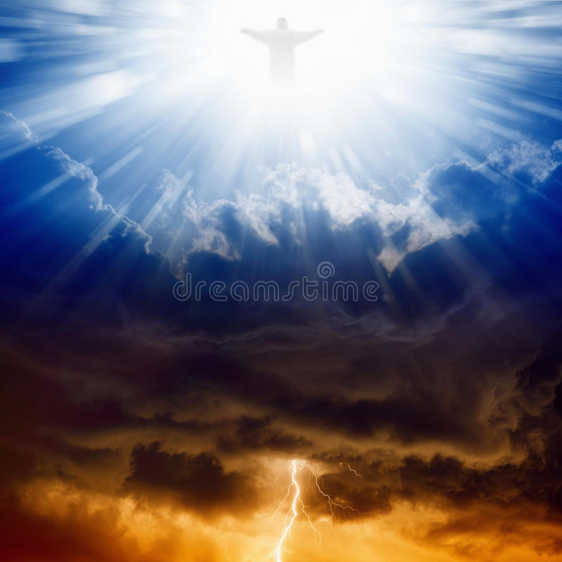 Christ, heaven and hell stock photography