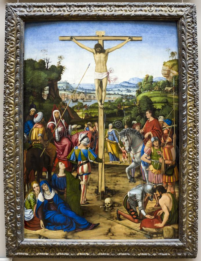 christ kors Andrea di Bartolo som är bekant som Solario luftventil royaltyfri bild
