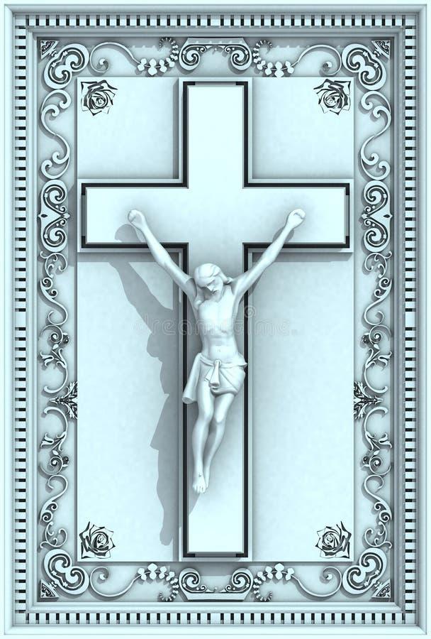 christ krucyfiksu ramy Jesus ornamental ulga royalty ilustracja