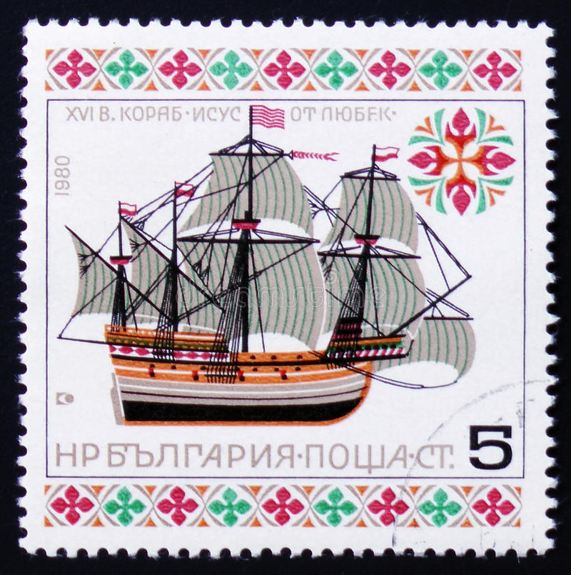 Christ of Lubek, the first ship to take African slaves to the Western Hemisphere in 1563, circa 1980. MOSCOW, RUSSIA - FEBRUARY 12, 2017: A stamp printed in royalty free stock image