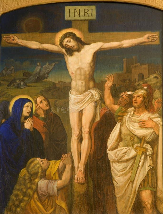 Christ na cruz do chruch de Viena foto de stock royalty free