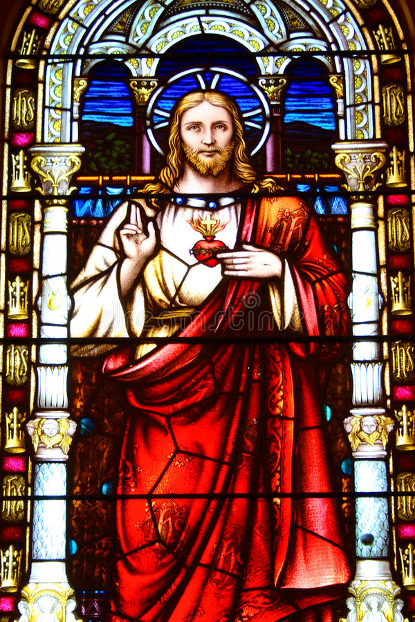 Christ no vidro manchado imagens de stock royalty free