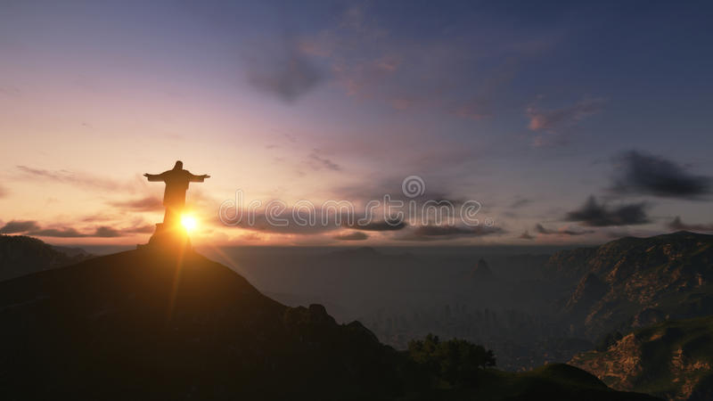 Christ o por do sol do rato de Redemee, Rio de Janeiro, Brasil, 3D rende imagens de stock royalty free