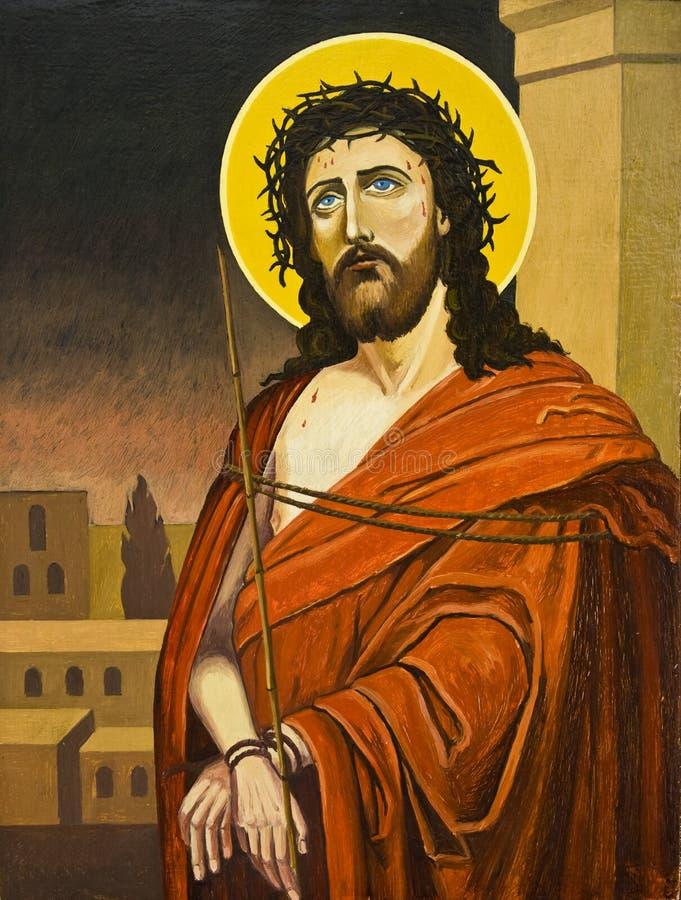 christ oljemålning royaltyfri illustrationer