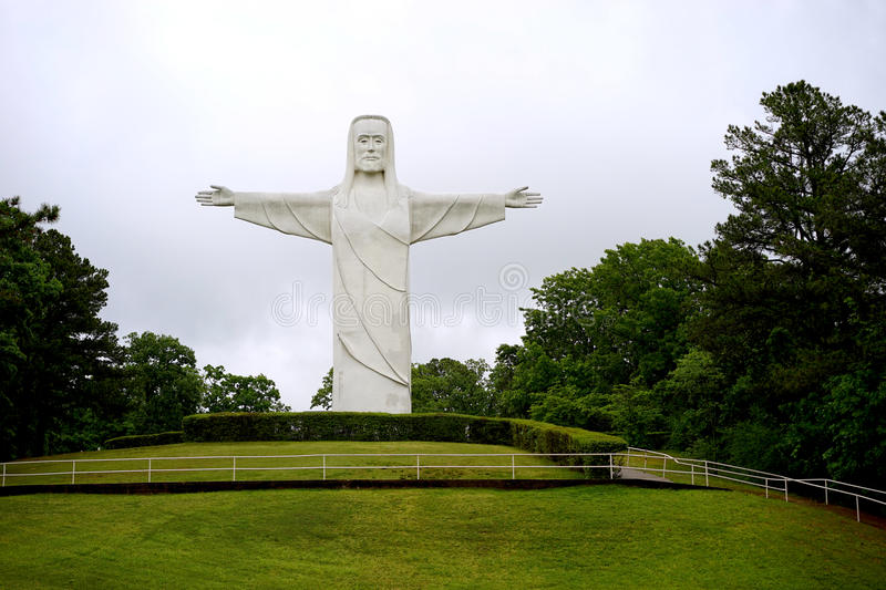 Christ of the Ozarks statue on hill. Christ of the Ozarks in Eureka Springs, Arkansas was erected in 1966 and is 7 stories tall. It is located on the grounds of stock images