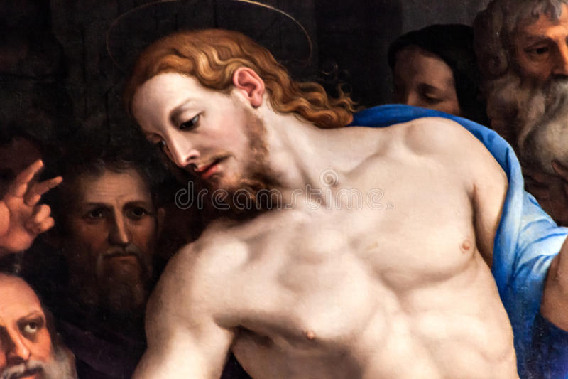 Christ Painted By Agnolo Di Cosimo. FLORENCE, ITALY - OCTOBER 3: Detail of the famous painting The Descent of Christ to Limbo, created in 1552 by Agnolo di stock images