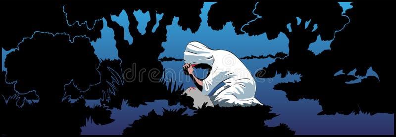 Christ Praying ilustração do vetor