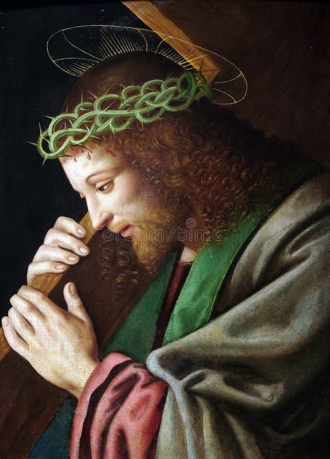 Christ que carrega a cruz imagem de stock royalty free