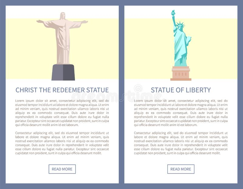 Christ Redeemer and Liberty Statues Promo Posters vector illustration