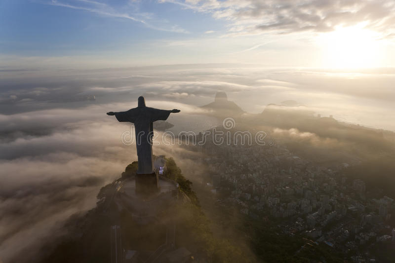 Christ Redeemer statue, Corcovado, Rio de Janeiro,. The giant Art Deco statue of Jesus, known as Cristo Redentor Christ the Redeemer, on Corcovado mountain in stock photo