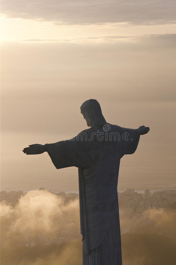 Christ Redeemer statue, Corcovado, Rio de Janeiro,. The giant Art Deco statue of Jesus, known as Cristo Redentor Christ the Redeemer, on Corcovado mountain in royalty free stock image
