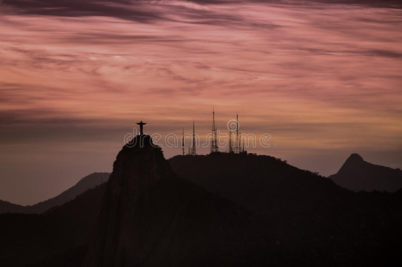 Christ The Redeemer At Sunset In Rio De Janeiro Royalty Free Stock Photos