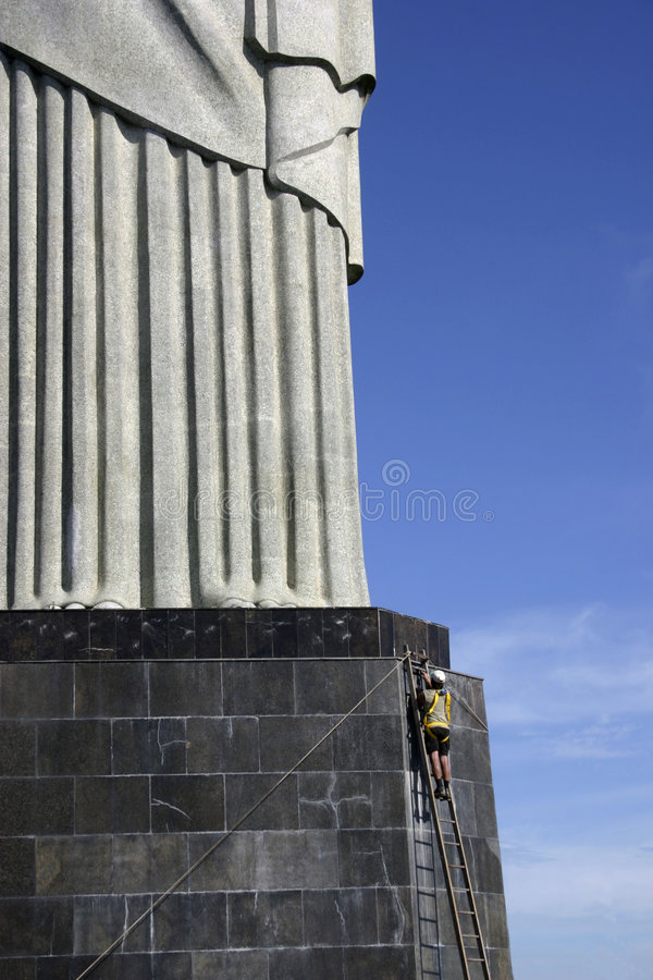 Download Christ The Reedemer With A Working Man Stock Photo - Image: 1958920