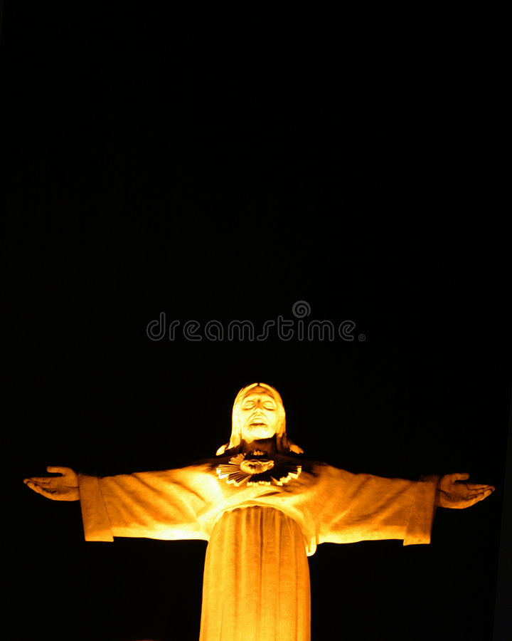 Christ's statue in Lisbon stock photo