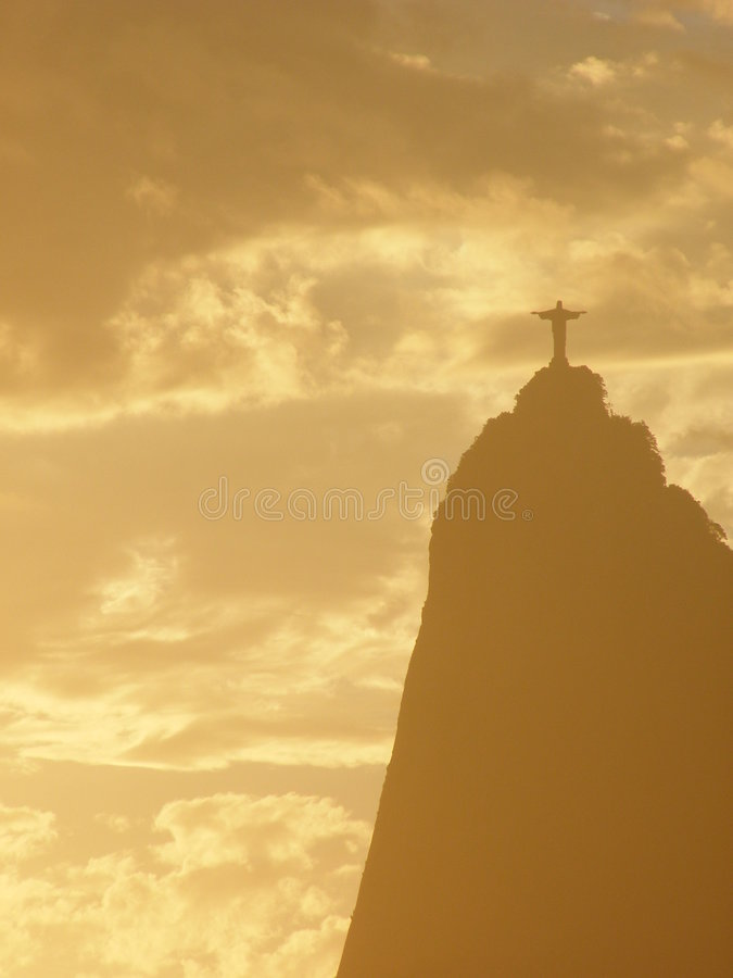Christ silhouette in Rio stock images