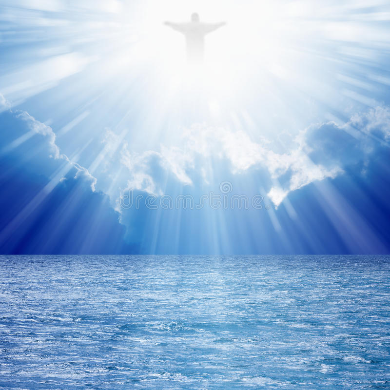 Christ in skies stock photo