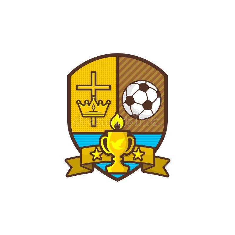 Christ trägt Logo zur Schau Schild und Becher, Kreuz von Jesus, Krone von König Glaskugel Burning Emblem für Wettbewerb, Club, La vektor abbildung