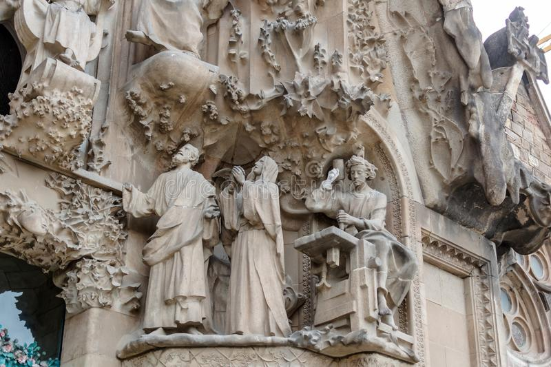Christ the worker scene on Nativity Facade of Sagrada Familia royalty free stock images