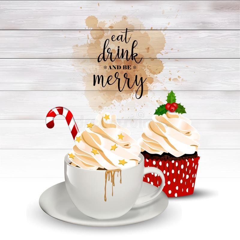 Christmas holiday background with coffee and cupcake. Christams holiday background with espresso coffee with cream and cupcake. Eat, drink and be marry text on stock illustration