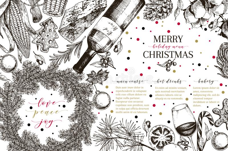 Christams menu. Vector sketched vintage style banner.Holiday reataurnat promotion. Xmas decoration, food. Cotton. Christams menu. Vector sketched vintage style stock illustration