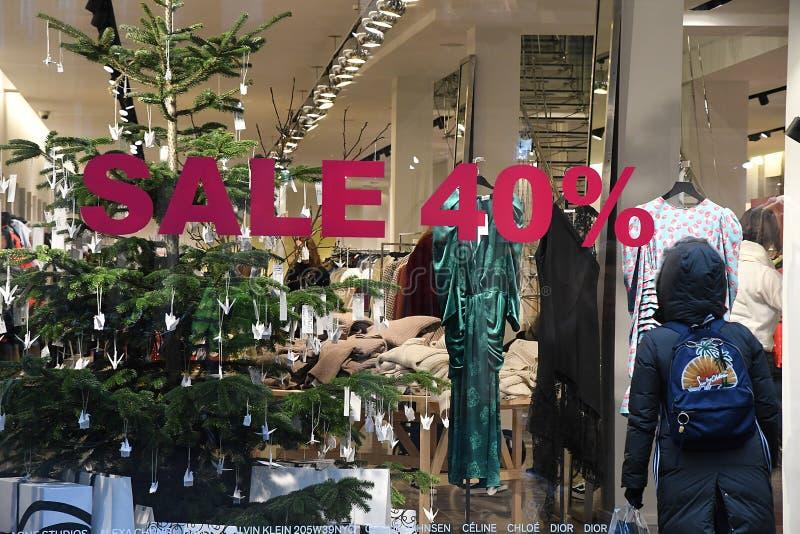 CHRISTAS sprzedaż DISOCUNT 40% W KOPENHAGA DENAMRK obrazy stock