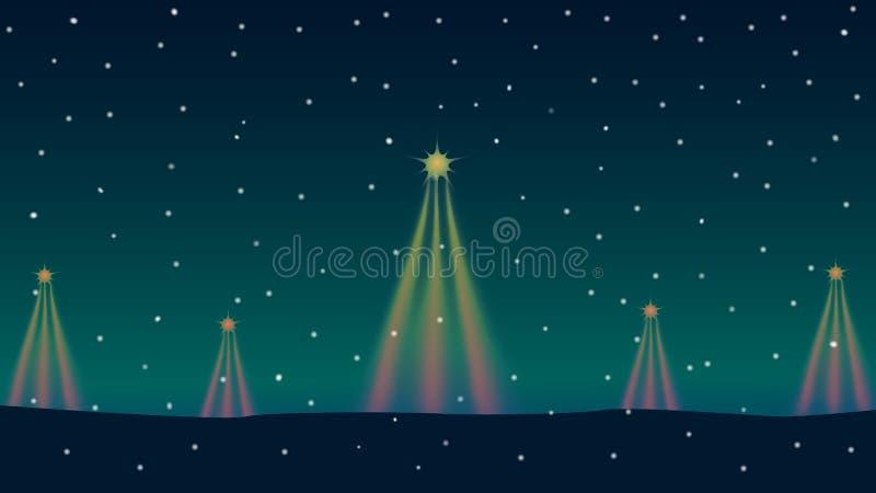 Christbaumkerze und Stern auf Winterhintergrund lizenzfreie abbildung